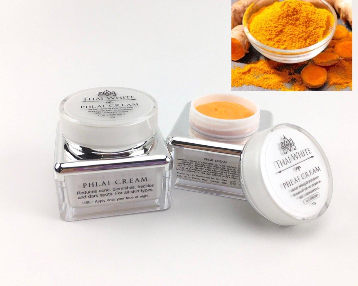 2 X THAI WHITE Phlai Turmeric Cream Whitening Acne Dark Spots Blemishes 12g.