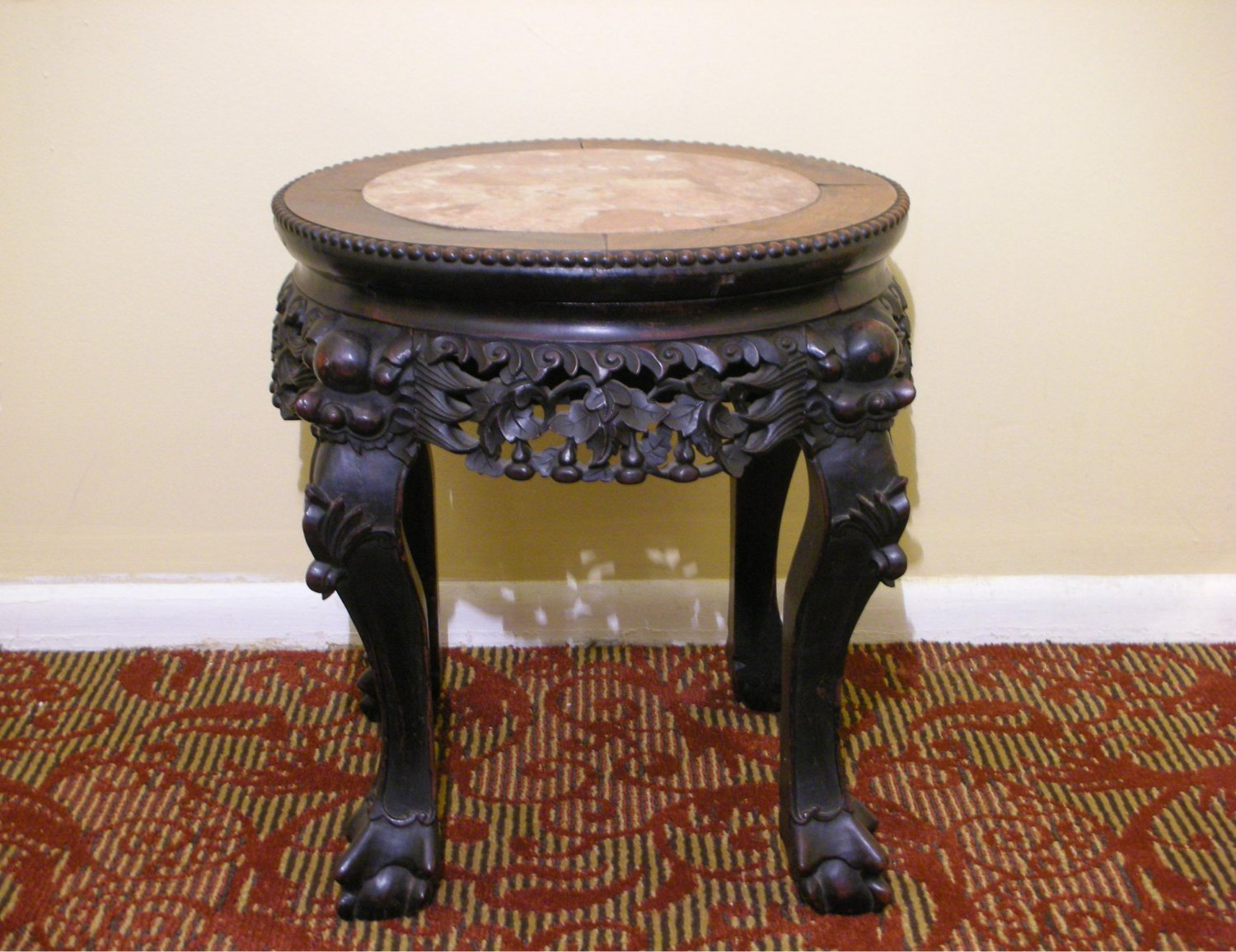 """Vintage Chinese Export Hardwood Marble Top Wood Carving Plant Stand Table (H: 17.5"""")"""