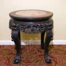 "Vintage Chinese Export Hardwood Marble Top Wood Carving Plant Stand Table (H: 17.5"")"