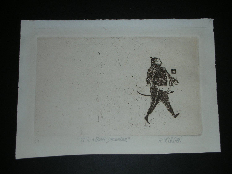 "Original Etching Artwork by R. YAWGER - Title ""Beak December"" (Signed)"