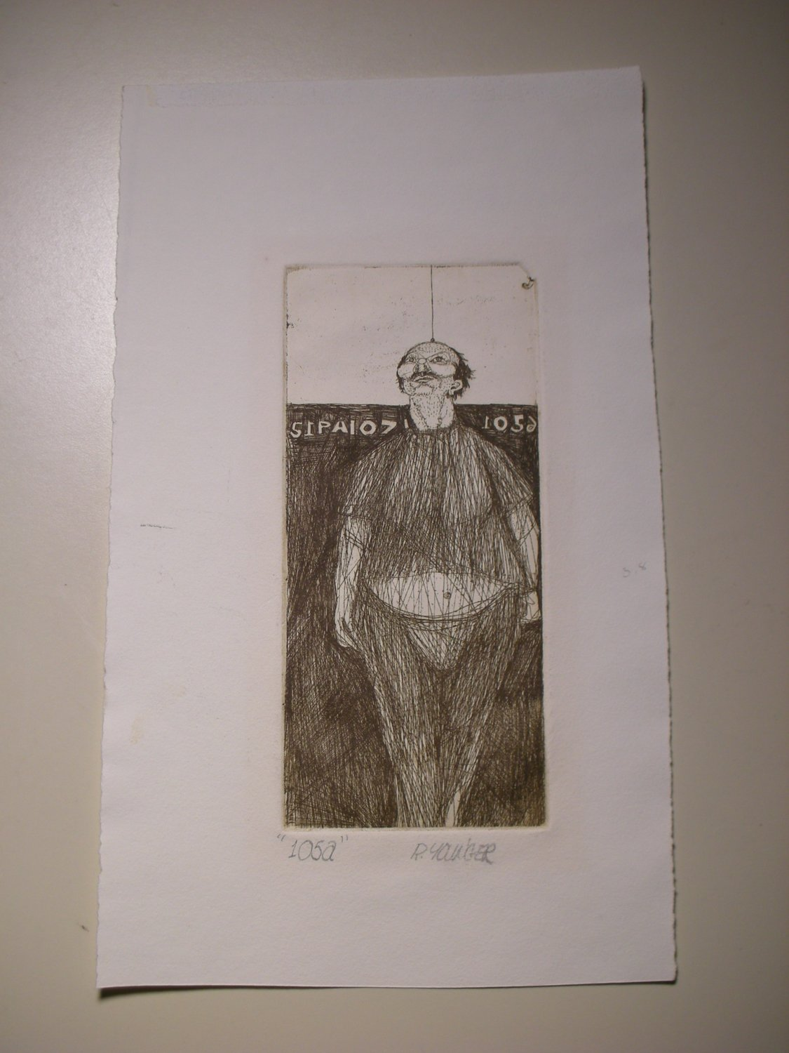 """Original Etching Artwork by R. YAWGER Hangman - Title """"105a"""" (Signed)"""