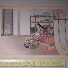 Antique Japanese Kuchi-e Woodblock Lady Print by MIZUNO TOSHIKATA