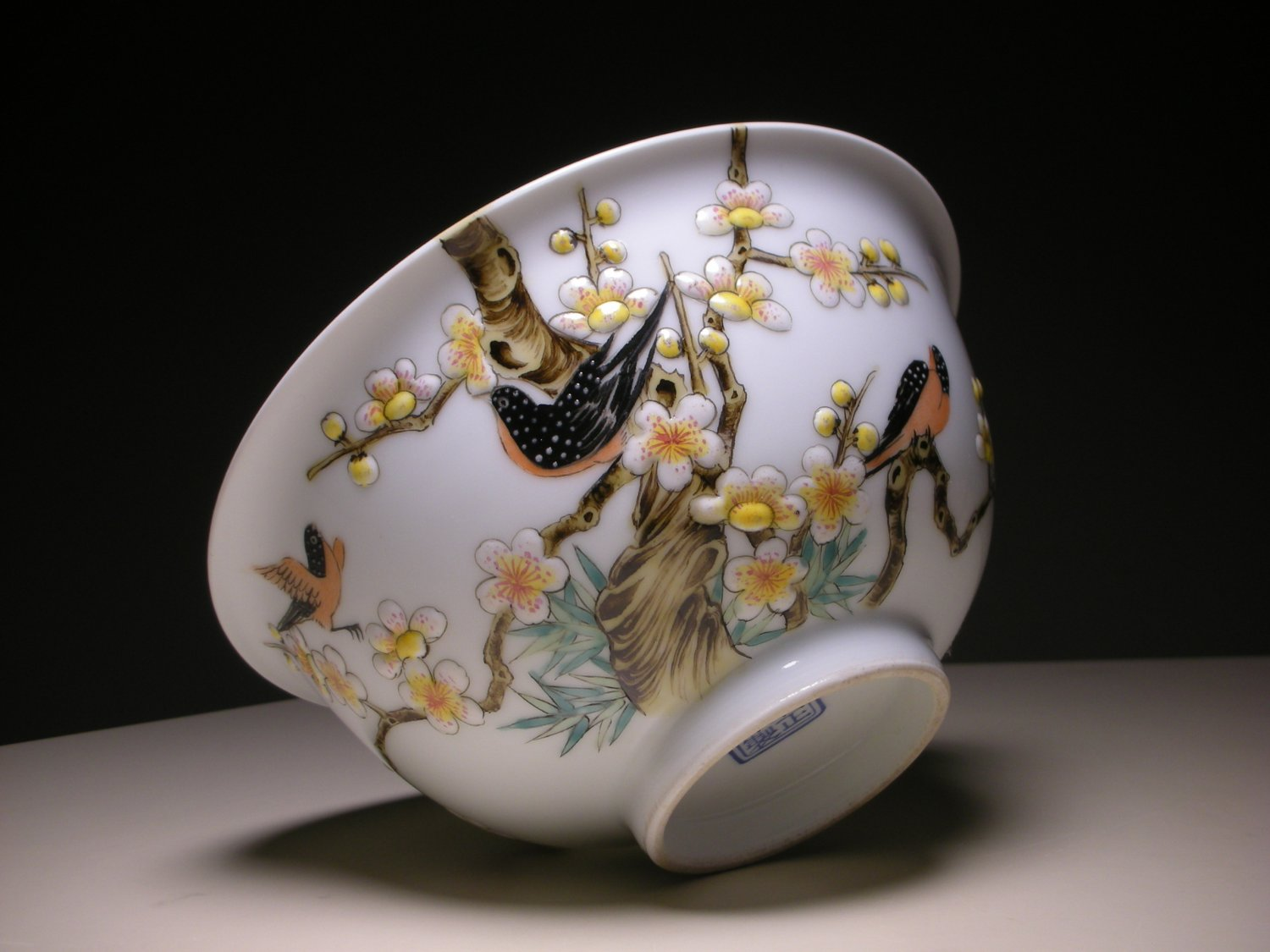 Vintage Chinese Porcelain Relief Bowl With Birds Amp Flowers