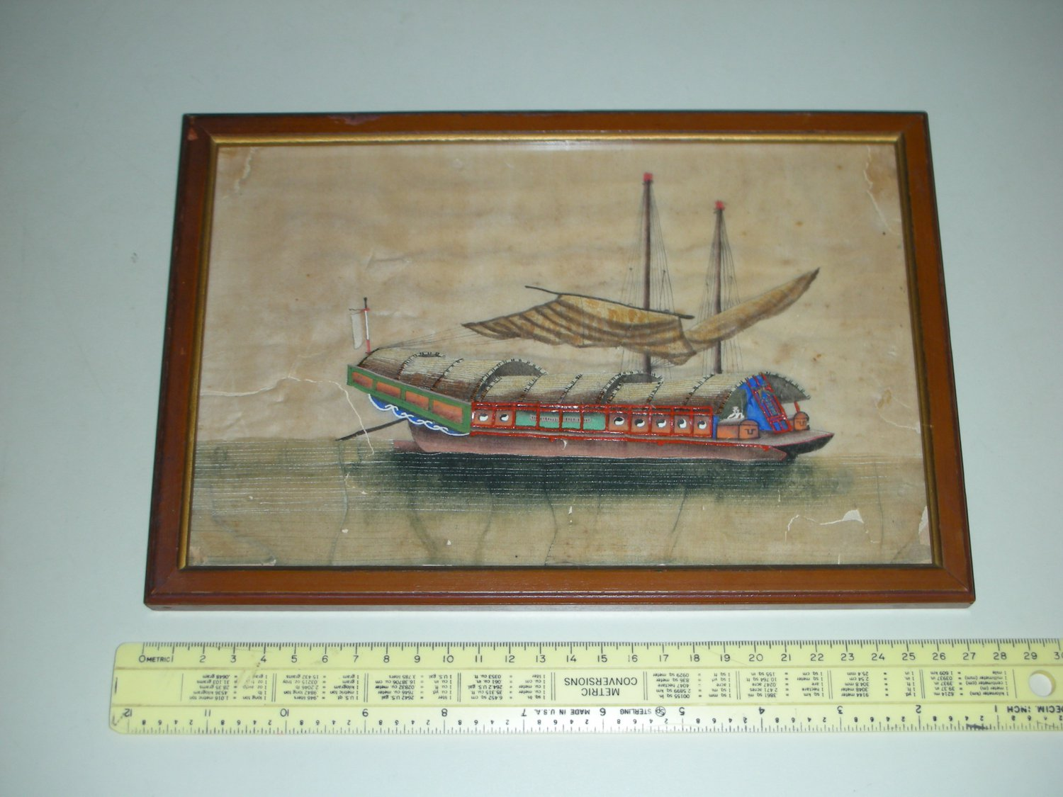 Vintage Chinese Pith Rice Paper Painting - Large Ship (with Tao symbols)