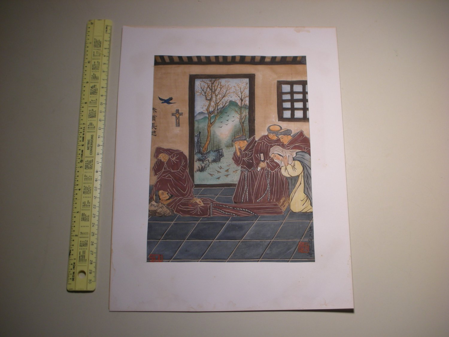 Vintage Chinese Christian Painting Catholic Monks by Lee Li Tian Duo (�天� �天�)