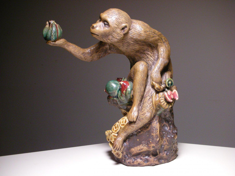 Vintage chinese foshan shiwan ware statue figurine monkey w fruit - Gorilla figurines ...