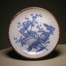 Vintage Japanese IGEZARA Blue White Transfer Bamboo & Fans Plate - Kiln Mark