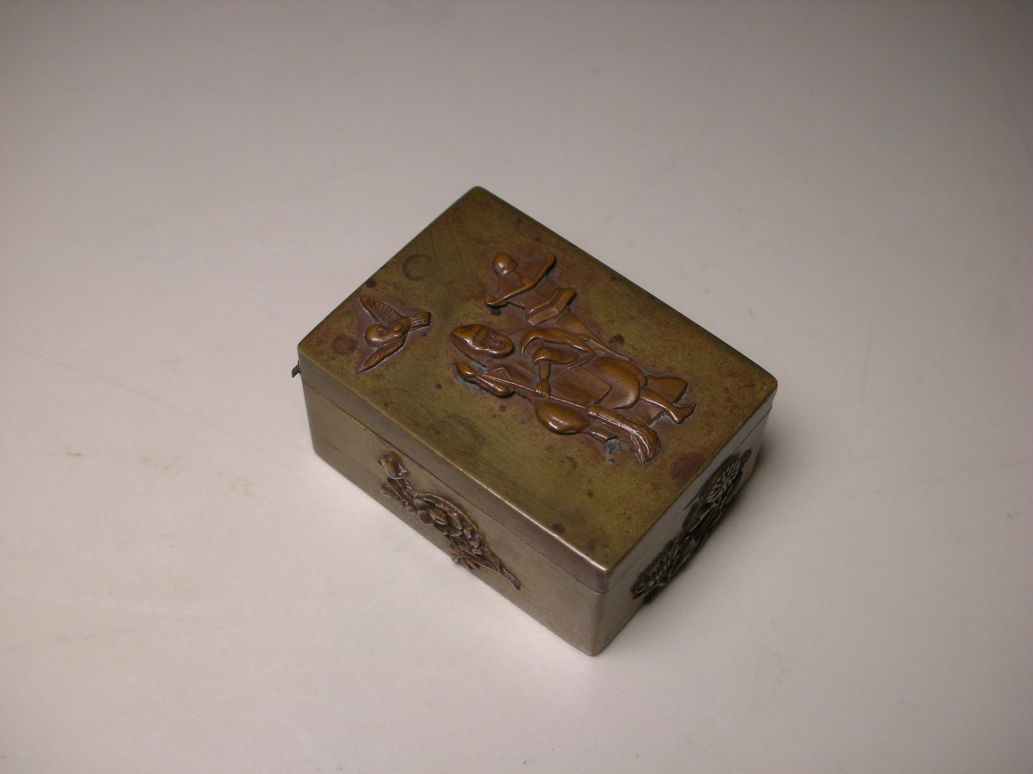 Vintage Japanese Bronze Mixed Metal Small Stamp Box