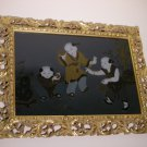 LOCAL PICKUP ONLY - 20thc Chinese Glass Reverse Painting Framed - Children & Crickets