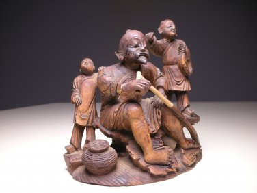 Vintage Chinese Wood Carving Figure of Old Man and Children (Small)
