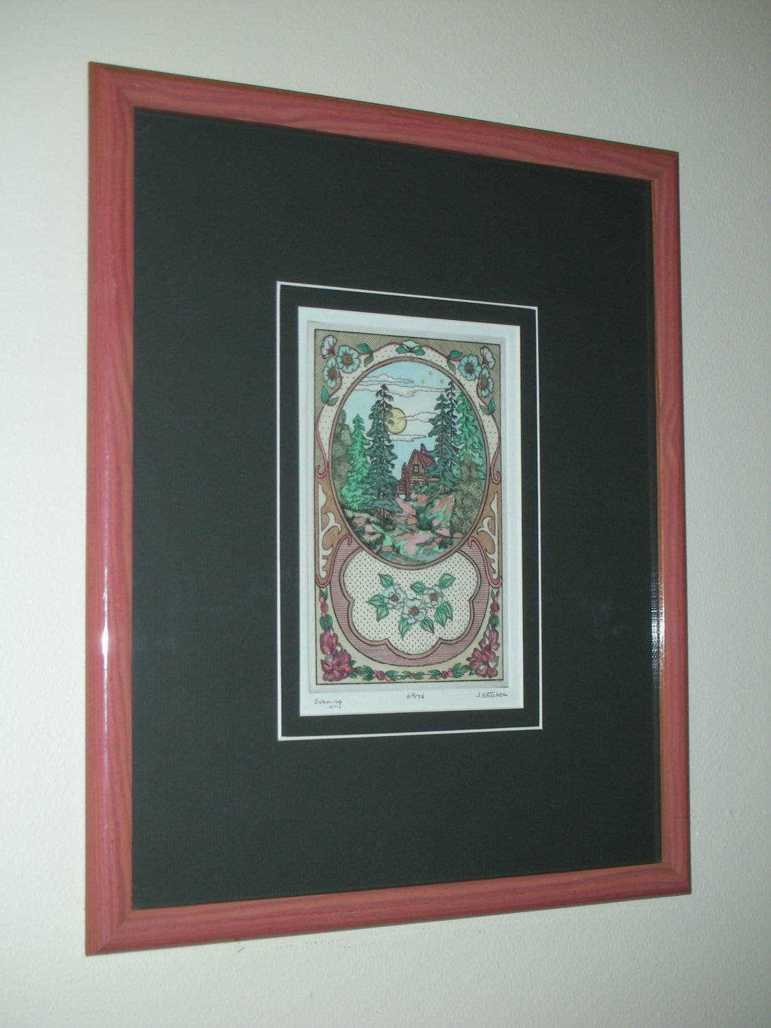 20thc American J. E. Fischer Color Etching - Evening #69/75 (Signed)