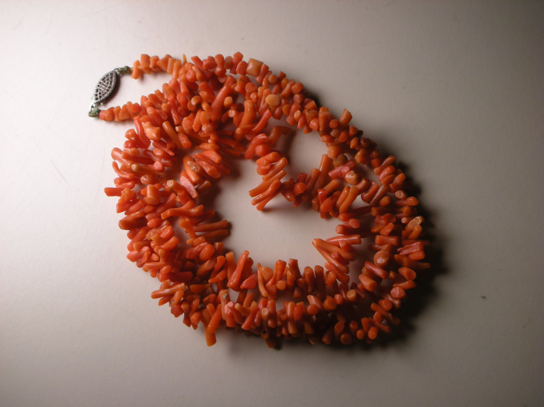 Vintage Orange Red Coral Necklace w/ Sterling Silver Clasp Hook