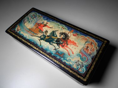 Vintage Russian Lacquer Rectangle Mctepa Tpouka Hand Painted Box (Signed)