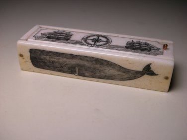 20thc Miniature Mini Toy Carved Bone Stained Domino Set Box - 28 Tiles