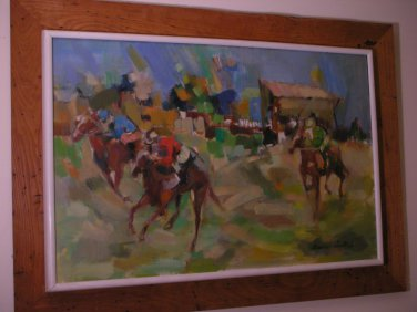 LOCAL PICKUP ONLY - Original American Painting by Audrey Salkind - Horse Races