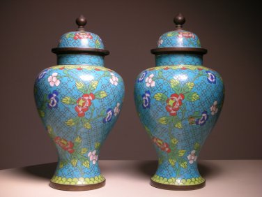 Vintage Chinese Cloisonne Turquoise Ginger Jar with Top Lid (PAIR)