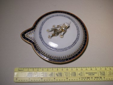 19thc Chinese Export Famille Rose Porcelain Top Lid Cover Only - Lizard Handle (Repaired)