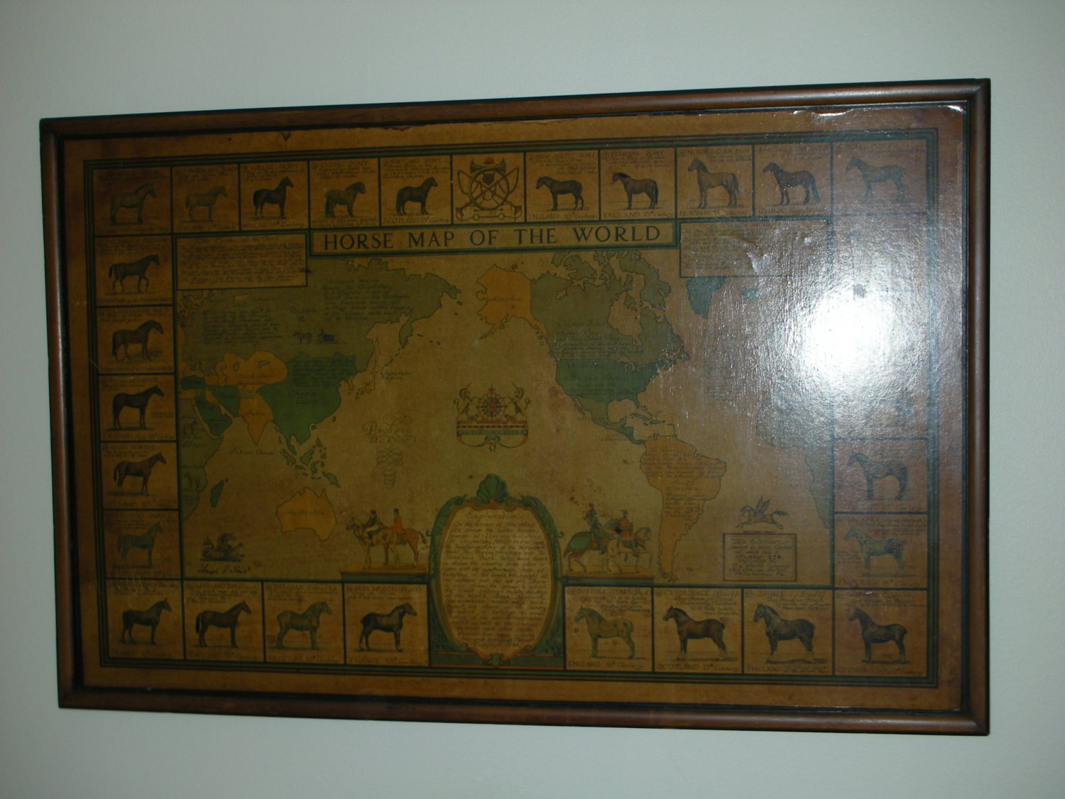 Vintage Horse Map of the World Limited Edition #278 of 1000