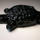 American Blenko Glass Black-Cobalt Turtle Paperweight Handmade