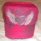 Hot Pink Rhinestone Heart Cadet Hat