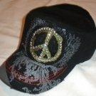 Black Peace Sign Rhinestone Cadet Hat
