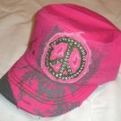 Hot Pink Peace Sign Rhinestone Cadet Hat