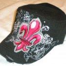 Black Fleur De Lis Rhinestone Cadet Hat