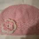 Pink Crochet Hat with Pink and White Crochet Flower
