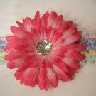 Pastel Crochet Headband With Hot Pink Flower