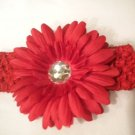Red Crochet Headband With Red Flower