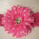 Hot Pink Crochet Headband With Hot Pink Polka Dot Flower