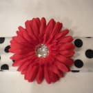 White with Black Polka Dot Headband With Red Flower