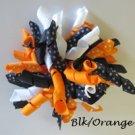 "4"" Fluffy Korker Clip - BLACK & ORANGE"