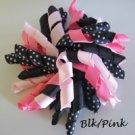 """4"""" Fluffy Korker Clip - PINK & BLACK"""