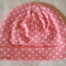 Cotton Beanie - Pink & White Polka Dots