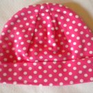 Cotton Beanie - Hot Pink & White Polka Dots