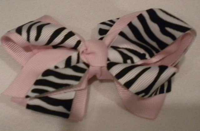 "4 1/2"" pink and zebra bow"
