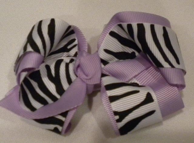 "4 1/2"" lavender and zebra bow"