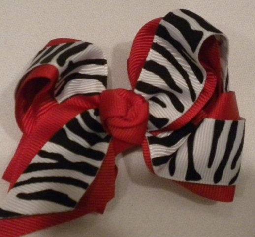 """4 1/2"""" red and zebra bow"""