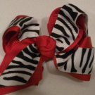 "4 1/2"" red and zebra bow"
