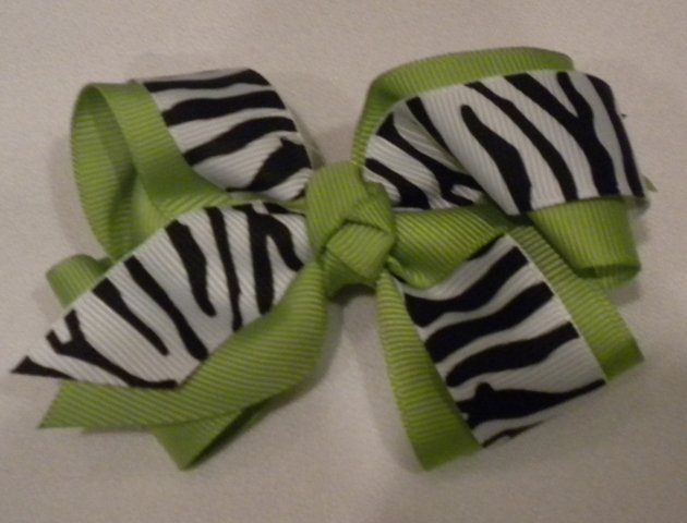 """4 1/2"""" lime and zebra bow"""