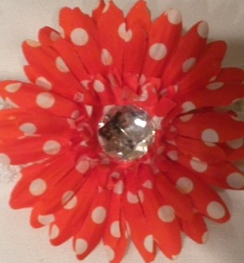 """4"""" Red with White Polka Dots Daisy Hair Clip"""