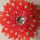 "4"" Red with White Polka Dots Daisy Hair Clip"