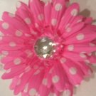"""4"""" Hot Pink with White Polka Dots Daisy Hair Clip"""