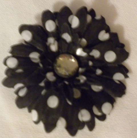 "3"" Black and White Polka Dot Daisy Hair Clip"