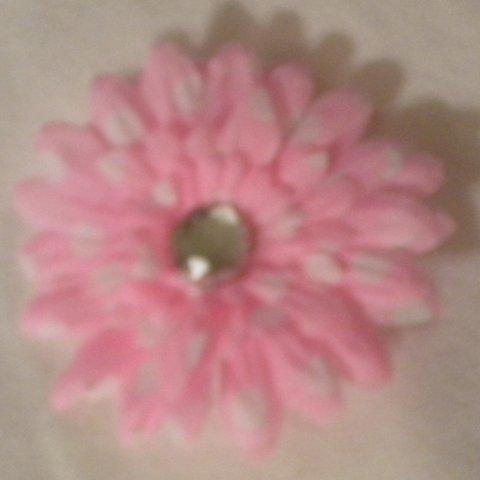 "3"" Pink and White Polka Dot Daisy Hair Clip"