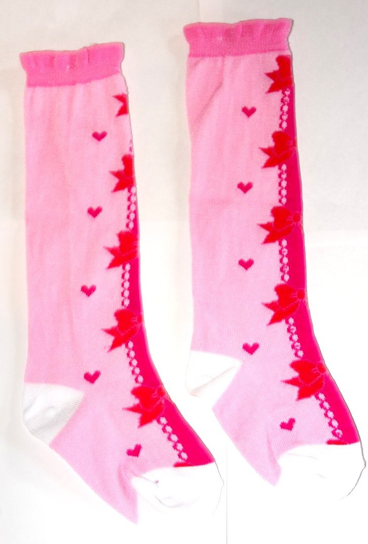 Girly Knee High Socks - Bows and Hearts