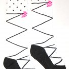 Girly Knee High Socks - White with Black Laces