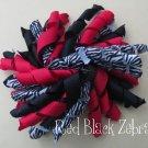 "4"" Fluffy Korker Clip - RED & BLACK ZEBRA"