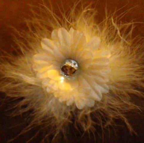 """4"""" Ivory Marabou Flower Clip"""